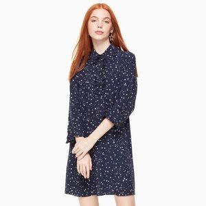NWT Kate Spade Night Sky Star Silk Shirtdress